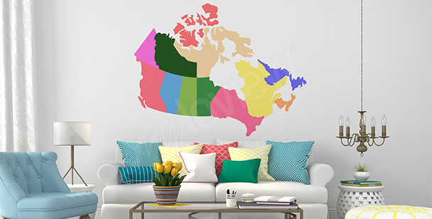 Vinilo mapa político de Canadá