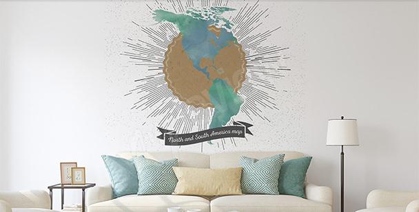 Vinilo mapa retro de las Américas
