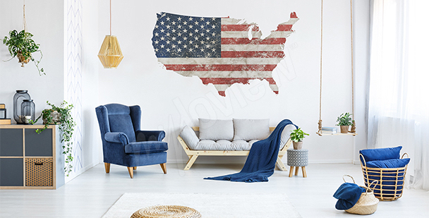 Vinilo mapa retro EE.UU.