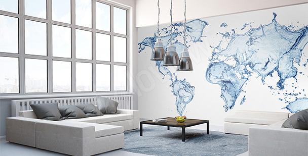 Vinilo mapamundi acuático