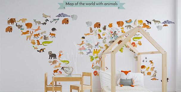 Vinilo mapamundi animal