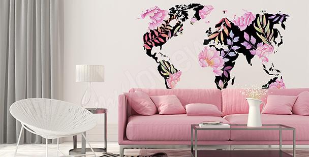 Vinilo mapamundi de flores