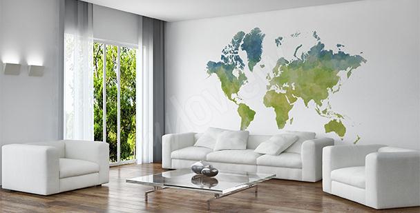 Vinilo mapamundi en estilo ecológico