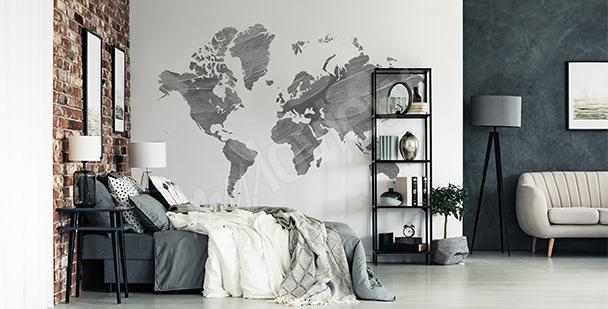 Vinilo mapamundi gris