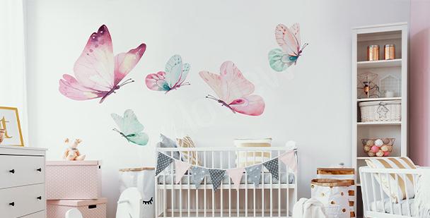 Vinilo mariposa en colores pastel