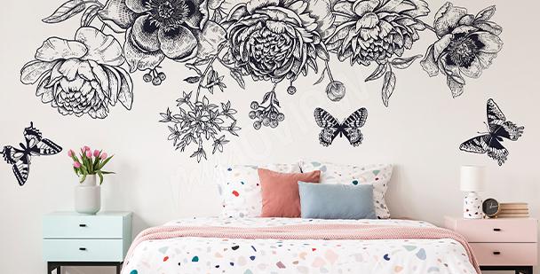 Vinilo mariposas en blanco y negro