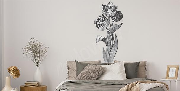Vinilo minimalista con flores