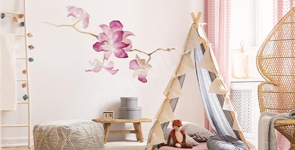 Vinilo orquídea en acuarela