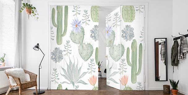 Vinilo para la puerta con cactus