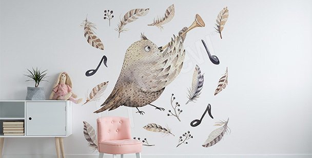 Vinilo para niña: pájaro-músico