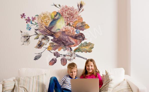 Vinilo para sala de estar pájaros en una rama