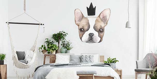 Vinilo perro con una corona