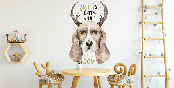 Vinilo perro en estilo escandinavo