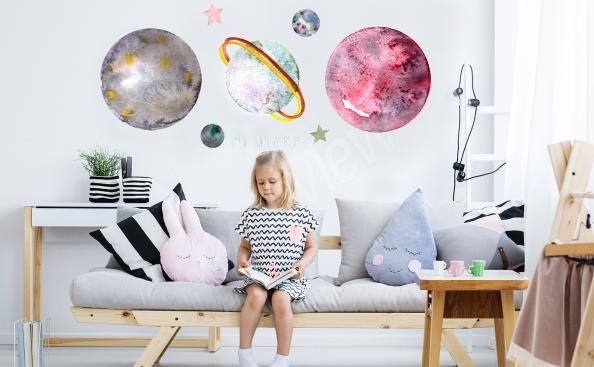 Vinilo planetas en colores pastel