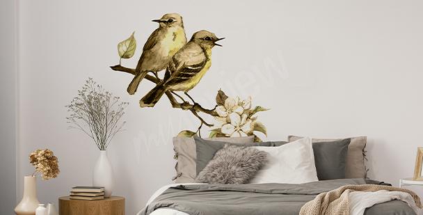Vinilo primaveral con pájaros