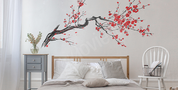 Vinilo rama con flores