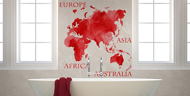 Vinilo rojo mapa continentes