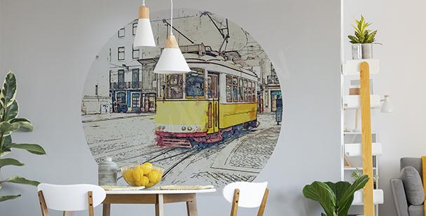 Vinilo tranvía amarillo para comedor