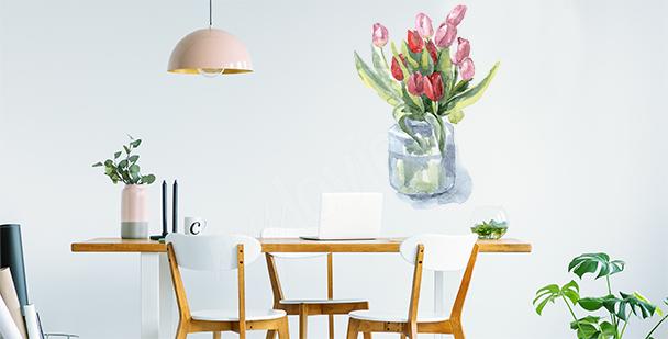 Vinilo tulipanes en florero
