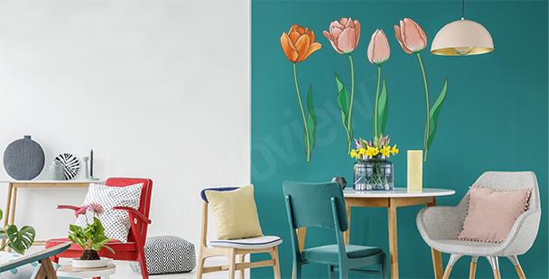 Vinilo tulipanes pintados a mano