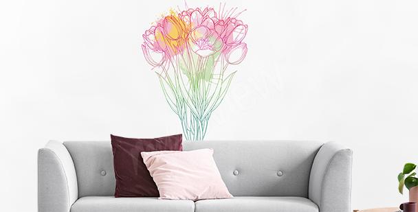 Vinilo tulipanes pintados con crayón
