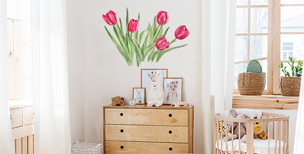 Vinilo tulipanes rosas