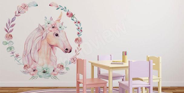 Vinilo unicornio y flores