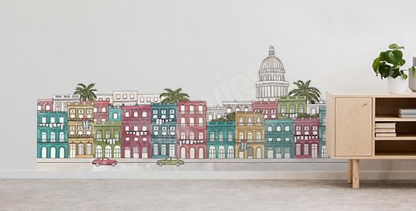 Vinilo urbano con palmeras