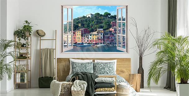 Vinilo ventana con vista de Portofino