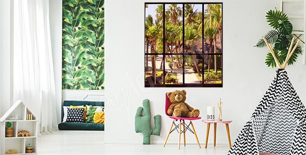 Vinilo ventana con vista tropical